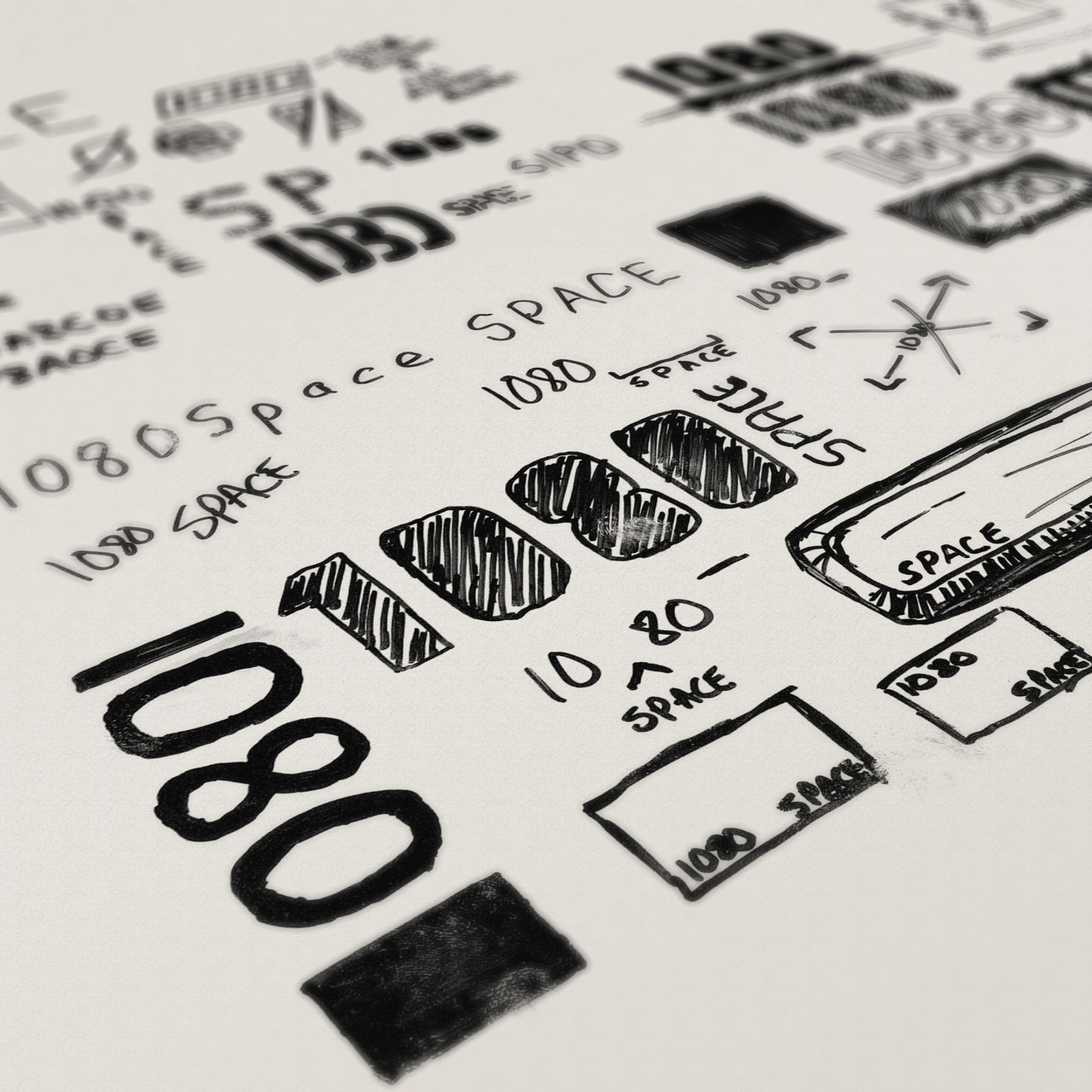 Image of 1080 Space logo process sketches