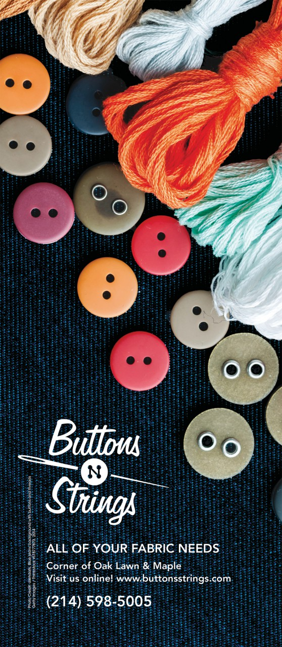 Image of Buttons 'n Strings logo used in an advertisement