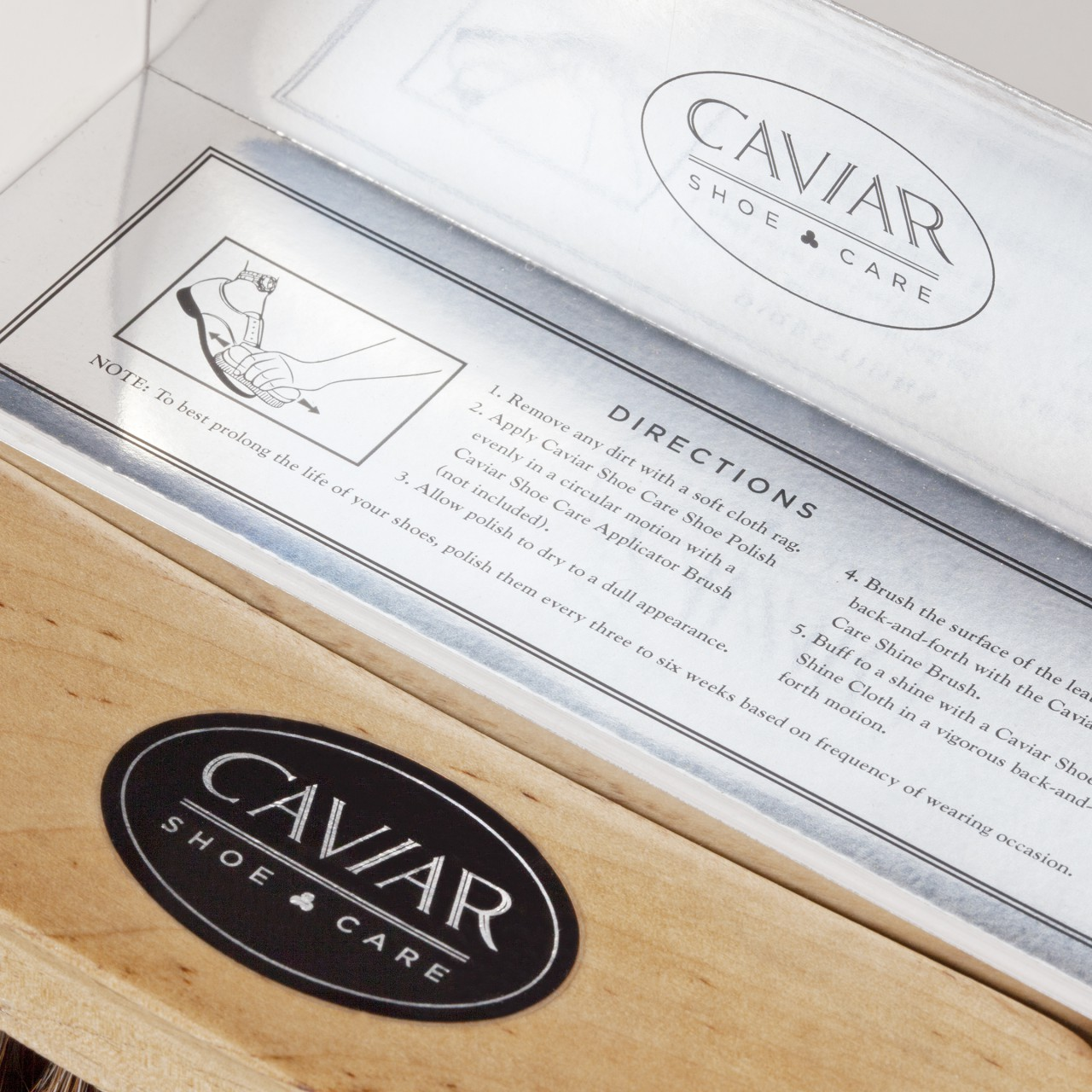Image of Caviar Shoe Care logo package labels