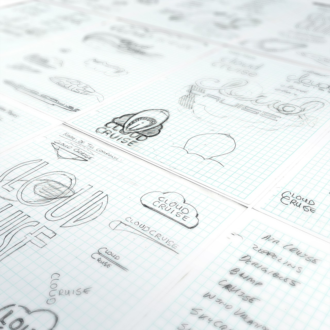 Image of Cloud Cruise logo process drawings