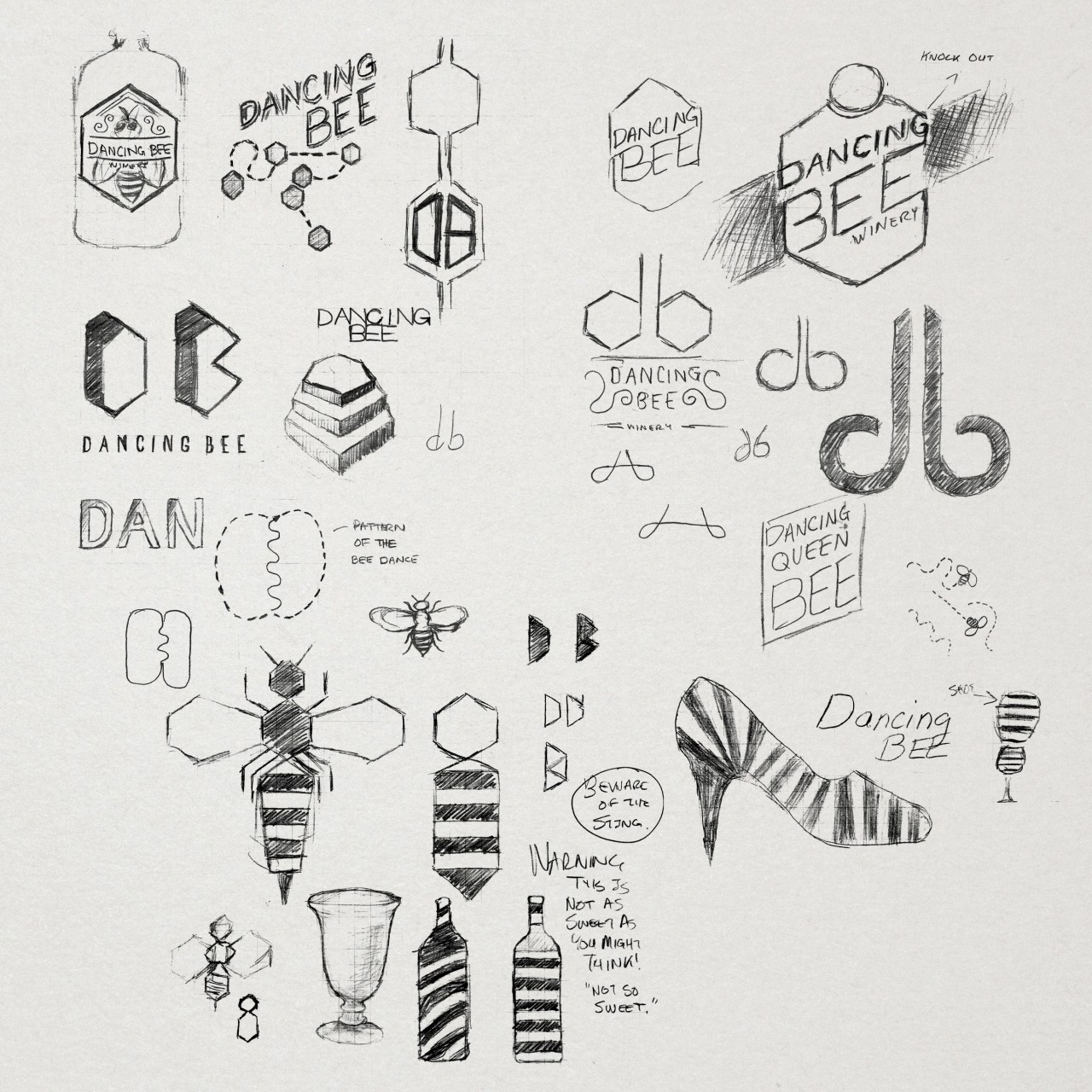 Image of Dancing Bee Winery logo design process work