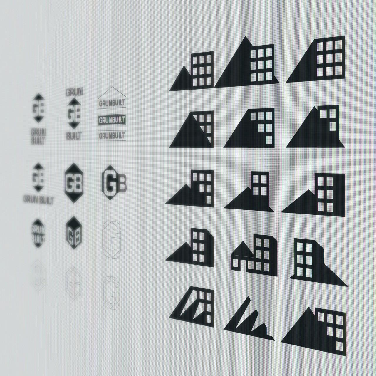 Image of Grun Built logo design process