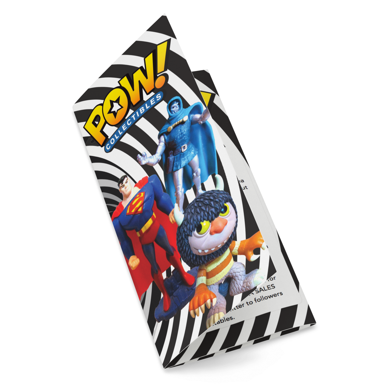 Image of Pow Collectibles logo on brochure