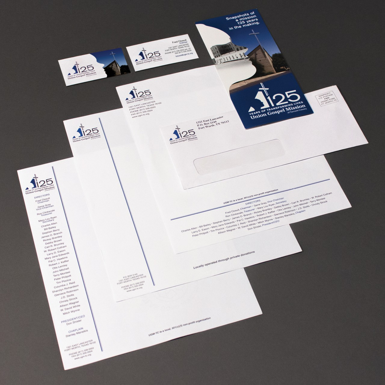 Image of Union Gospel Mission 125th Anniversary stationery application