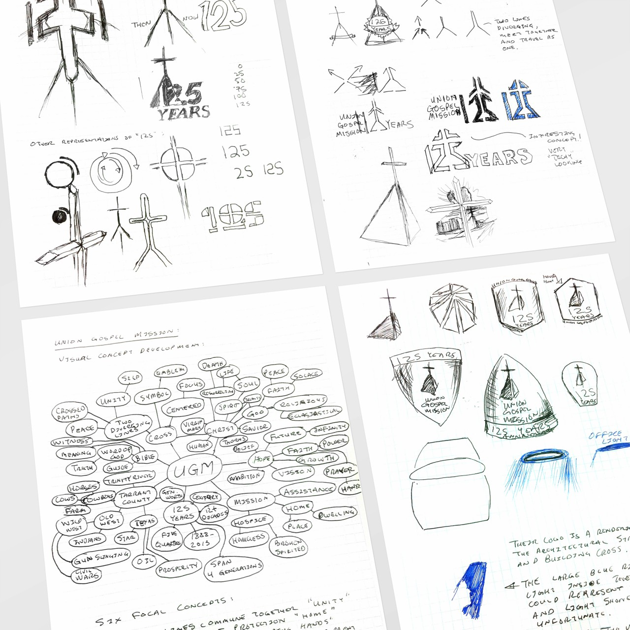 Image of Union Gospel Mission 125th Anniversary logo idea sketches