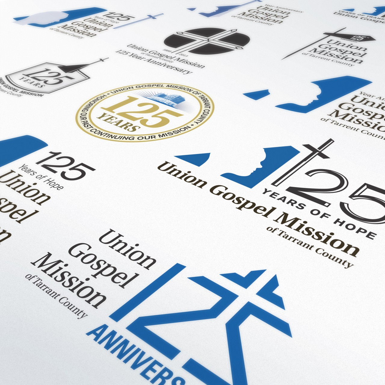 Image of Union Gospel Mission 125th Anniversary logo digital process concepts