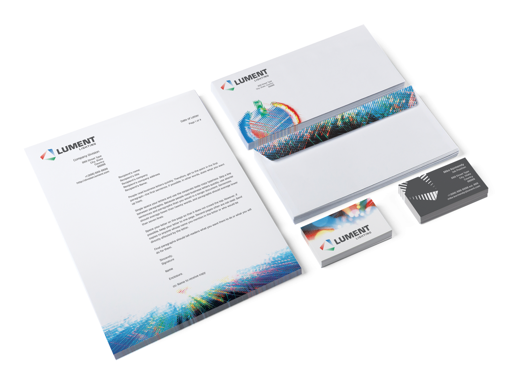 Image of Lument Lighting stationery suite