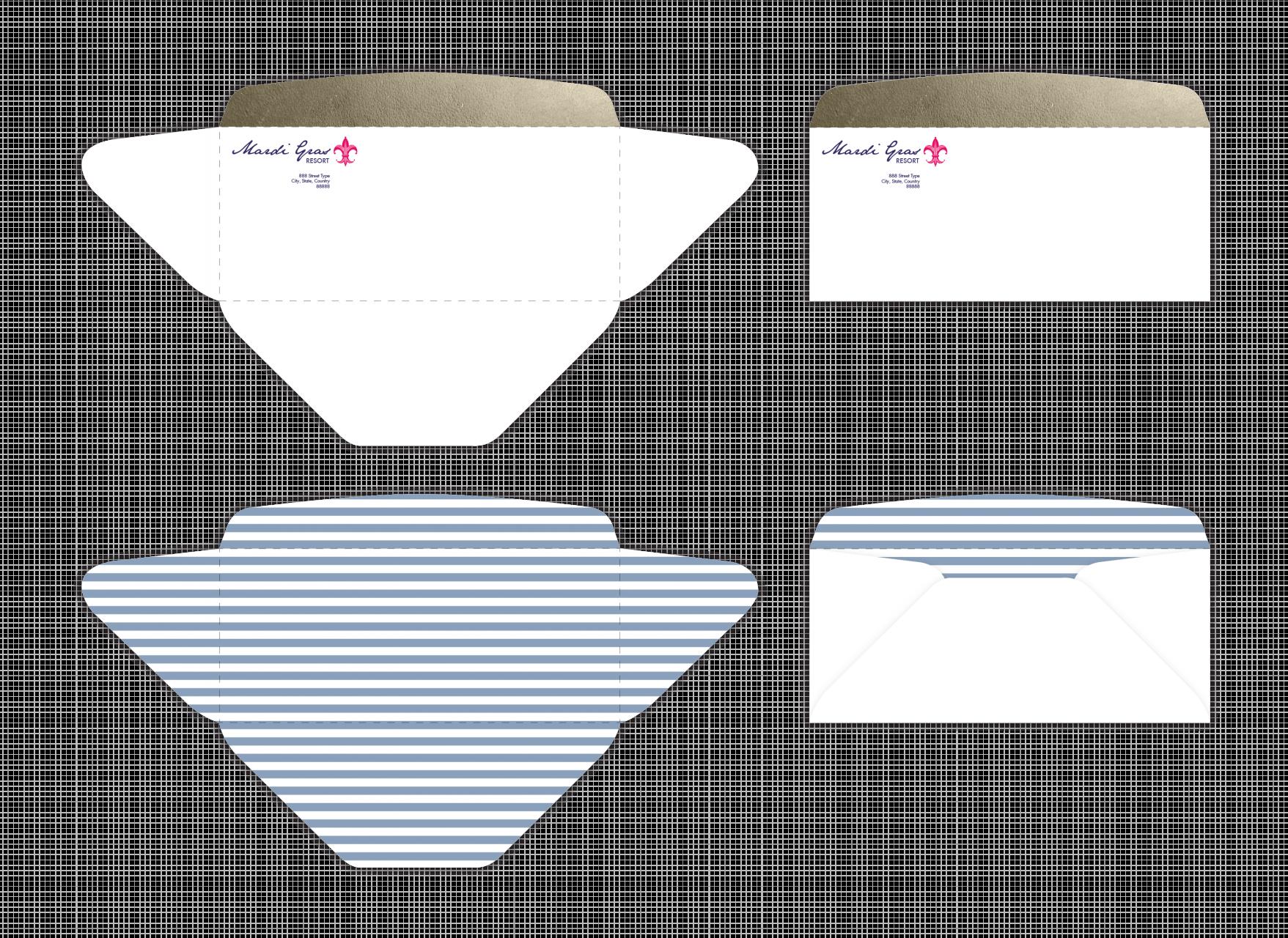 Image of Mardi Gras Resort envelope designs